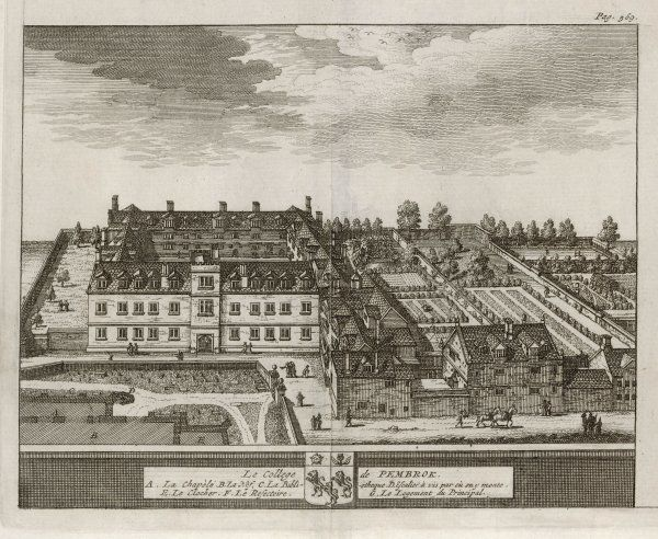 A bird's-eye view of the college showing the chapel, dining hall, library, gardens & grounds & the bell tower. One of 39 engravings made of Oxford Colleges by Loggan