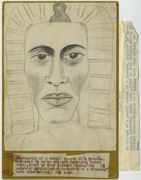Undated photograph of pencil sketch of a phantom, supposed to be an ancient Egyptian, drawn from life by the Austrian medium Maria Silbert during its materialisation which occurred at a s顮ce. HPG/1/7/20 (viii) Date: circa 1930