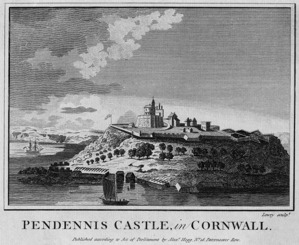 Distant view of Pendennis Castle, Cornwall, viewed from the sea Date: circa 1770