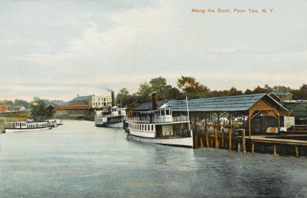 Steamboat docked in Penn Yan, New York State, America