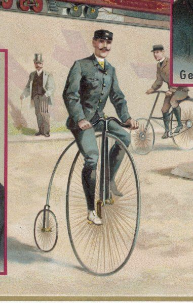Riding a penny-farthing