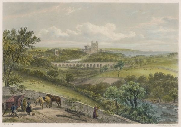 The view across the fields toward this fortified manor house, which was expanded and transformed in the form of a Norman Castle by Thomas Hopper in the mid 19th century