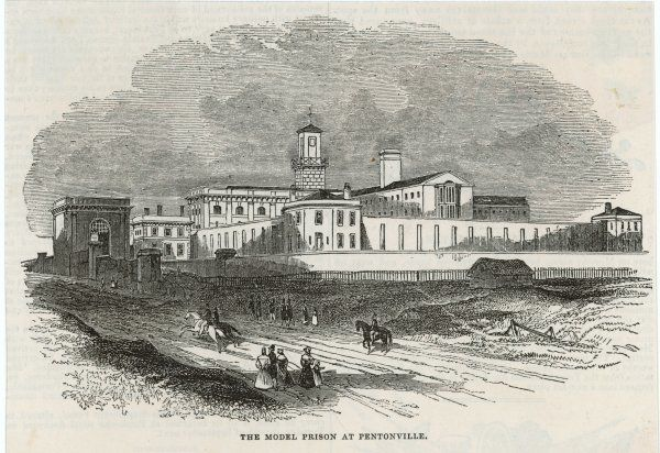 An exterior view of the prison. It was considered to be a model for all new prisons at the time