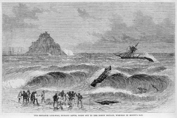 The Penzance lifeboat, Richard Lewis, goes out to the North Britain, wrecked in Mount's Bay