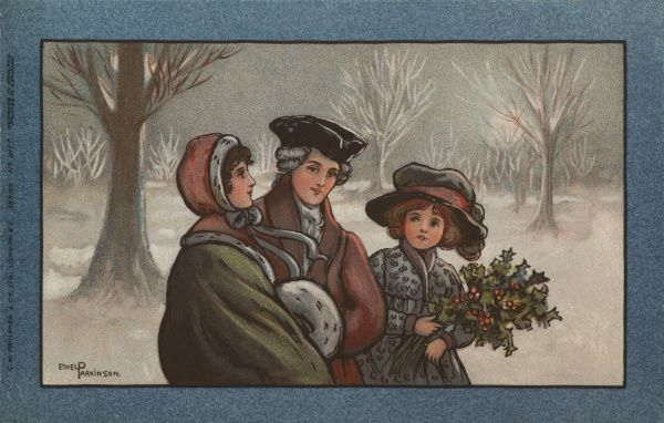 Three people dressed in 18th century style, one of them holding a bunch of holly, in a snowy landscape