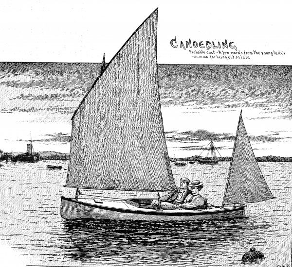 Engraving showing a young couple enjoying a ride in a sailing kayak somewhere on the British coast, 1898. The original caption for this image was: 'Canoedling...&#39
