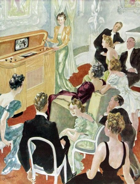 Illustration showing a group of people, in formal evening wear, watching a television in a sitting room, 1946. One might reasonably suppose that this shows a dinner party having a little televisual relaxation before, or after, their formal meal