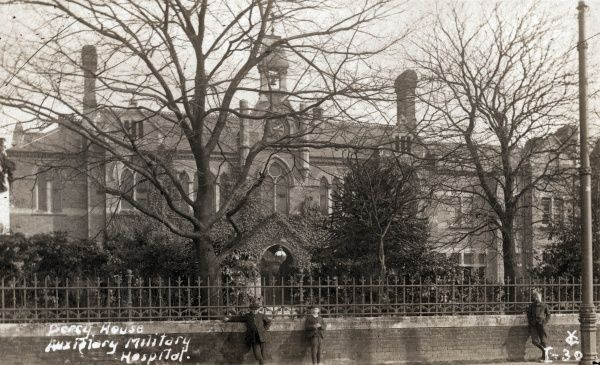 A view of Percy House School which served as a Military Hospital during the First World War. The school, for pauper children, was established by the Brentford Union in 1883 on Twickenham Road, Isleworth, adjacent to the Union's workhouse
