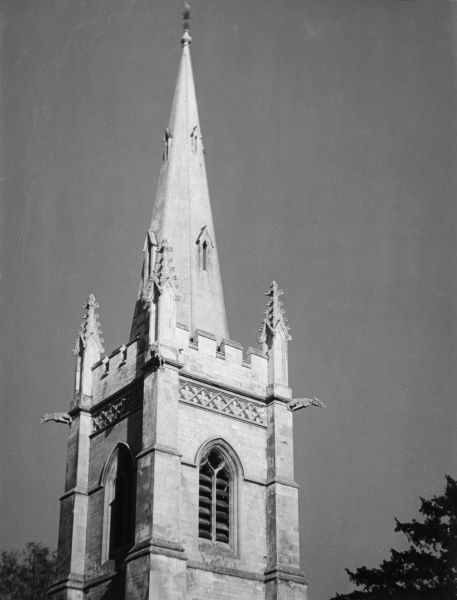 Perlethorpe Church, Thoresby Park, Nottinghamshire, England : Close-up of the Tower and Spire, built in the Dunkeries in 1876, by Earl Manvers. Date: 19th century