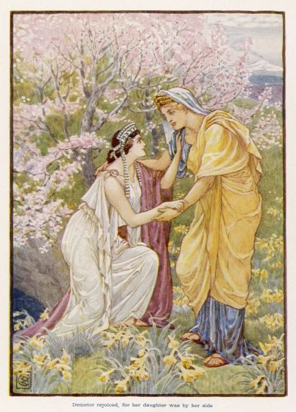 Persephone (Proserpina) is reunited for the Spring and Summer with her mother Demeter (Ceres) until each Autumn and Winter, when she must return to her husband Pluto (Hades)