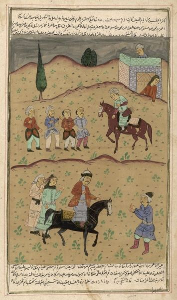 A Persian shah (king) returns from a military victory with a string of prisoners