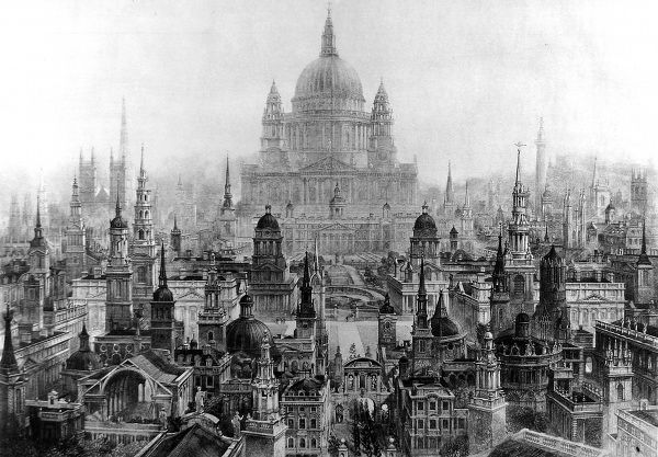 Illustration showing a perspective conspectus of the principal works of Sir Christopher Wren (1632-1723). The buildings featured include St. Paul's Cathedral; Royal Naval Hospital, Greenwich; the Monument and many of London's churches