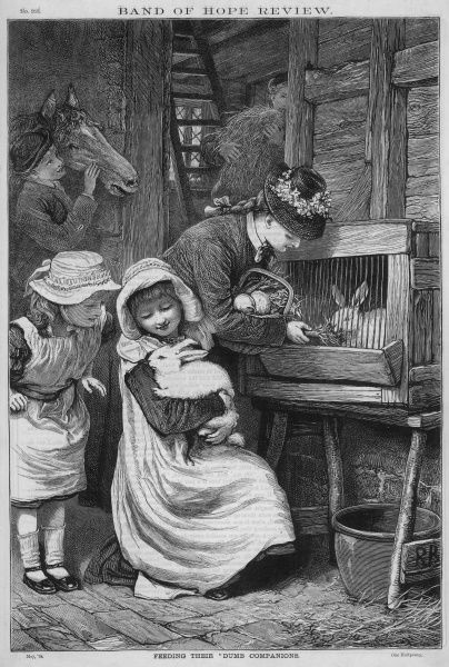 A mother and her children visit their pet rabbits and feed them. Date: 1879
