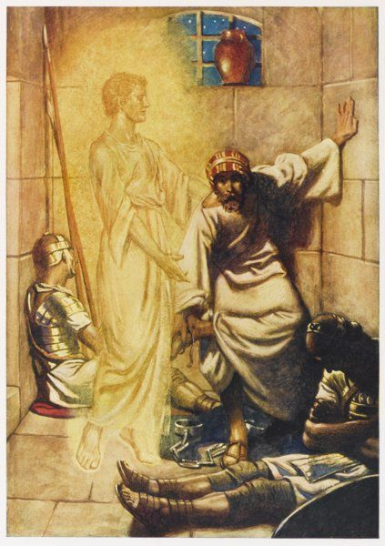 Peter, thrown into jail at Jerusalem by order of Herod, is freed by an angel