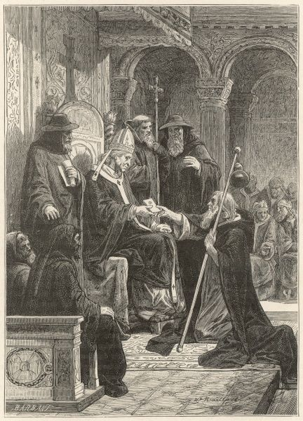 FIRST CRUSADE Peter the Hermit brings back letters from Simeon, Patriarch of Jerusalem to Pope Urban II