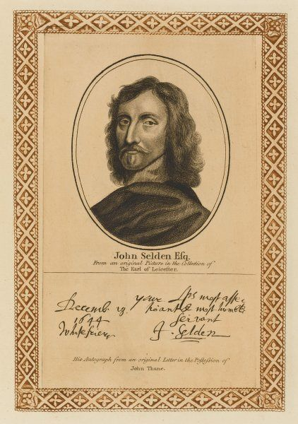 JOHN SELDEN antiquary and historian, known as 'the learned Selden' with his autograph