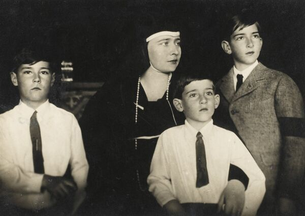 Peter II of Yugoslavia (1923 - 1970) on the right of this photograph with his Mother and his siblings, in mourning following the assassination of his Father King Alexander I in France in 1934