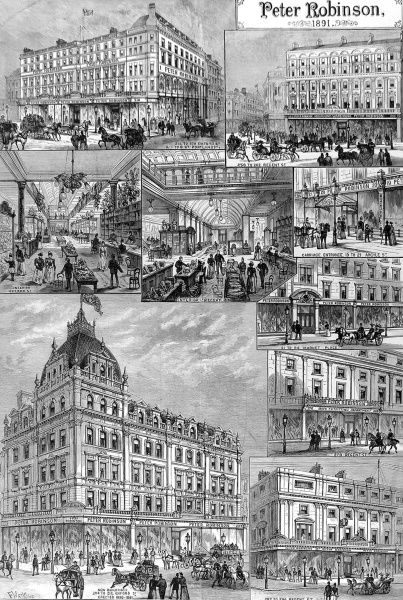 Engraving showing a number of exteriors and interiors of the 'Peter Robinson' department stores in Oxford Street and Regent Street, London, 1891