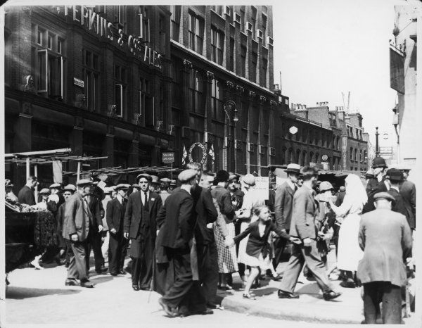 A busy day on Middlesex Street, part of the famous Petticoat Lane market, east London