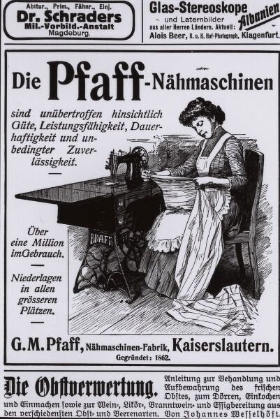 Advertisment for Pfaff sewing machines, beginning of 1900s. Date: 1900s