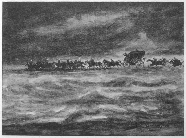 A phantom coach is seen by sailors driving over the water; when hailed, the coachman replies they are driving from Dumfries to Hell