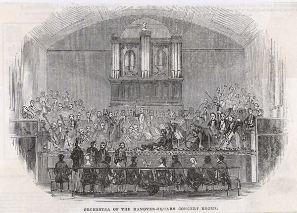 The orchestra of the Philharmonic Society performs at the Hanover Square Concert Rooms, London