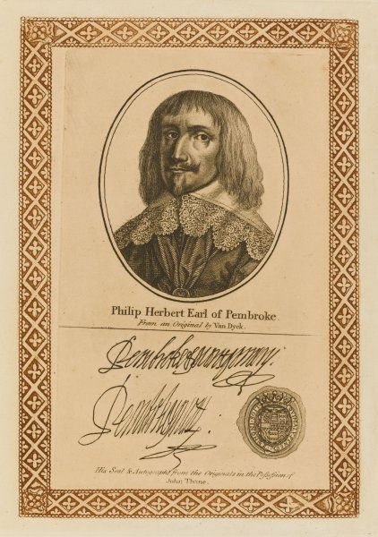 PHILIP HERBERT, fourth earl of PEMBROKE, brother of William, statesman, described as 'choleric, boisterous and absurd' with his autograph