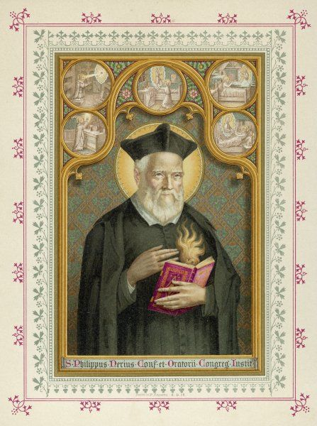 ST FILIPPO (Philip) NERI popular and venerated Italian preacher known as 'the Apostle of Rome' for his skill in winning converts ; he founded the Oratorian community