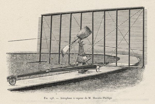 PHILLIPS's PROJECT The steam-powered flying machine of Horatio Phillips (England)