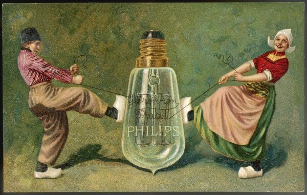 Advertisement for Philips lamps - Dutch boy and girl tug on filament