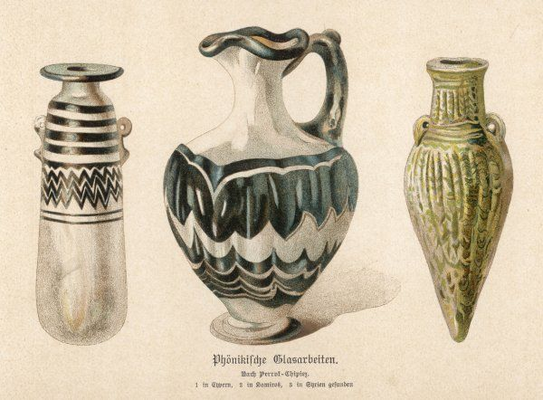 Three glass items from Phoenicia : the vase on the left is a strikingly modern design