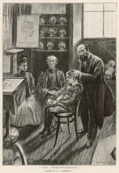 Consulting the phrenologist - the parents wait while the practitioner assesses their son's qualities