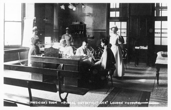 The Physician's room in the medical outpatient department of the London Hospital in Whitechapel