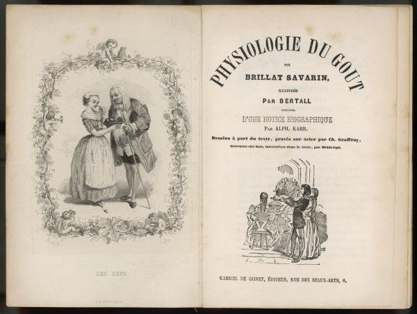 Frontispiece and title page of 'Physiology of Taste' by Brillat Savarin. A book about gastronomy dedicated to ' Parisian gourmets &#39