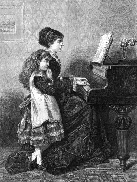 A girl listens to a woman playing the piano. Date: 1875