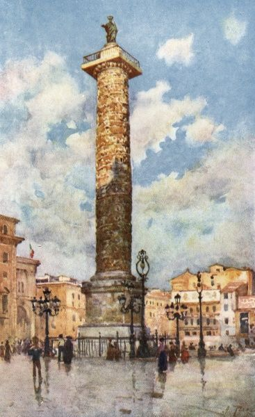The column of Marcus Aurelius in the Piazza Colonna. Date: 1905