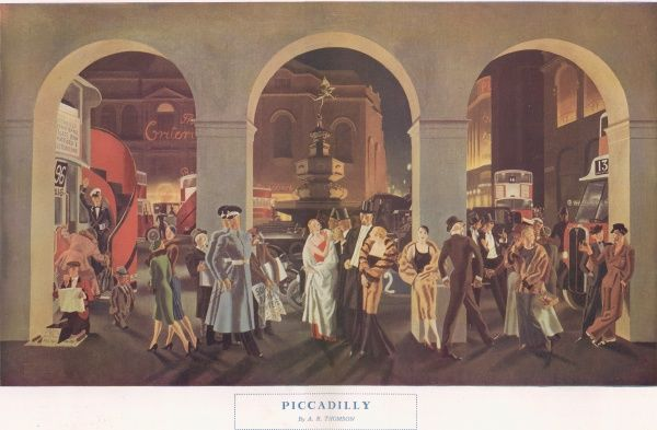 Illustration showing an evening at Piccadilly, London. Glamorous party goers mingle with commuters, taking in the city life