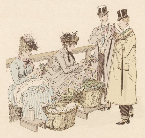 Two London flower girls offer their wares to a pair of gentlemen at Piccadilly Circus