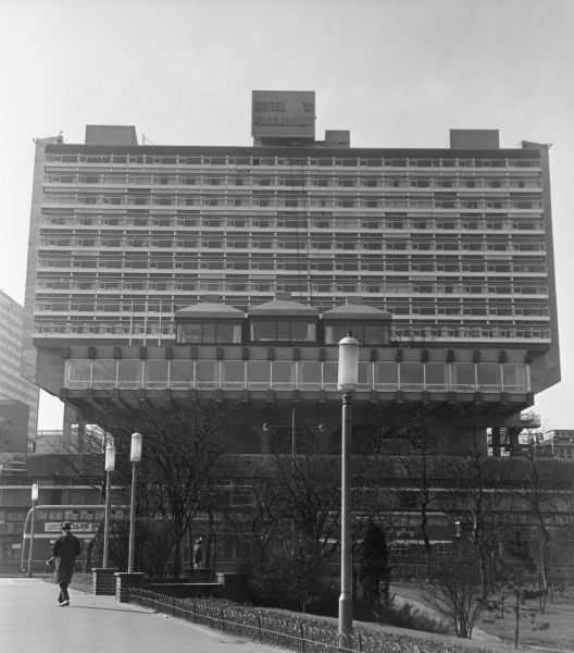 The 'modern' Piccadilly Plaza Hotel, Manchester, England, which was built in 1965. Date: 1960s