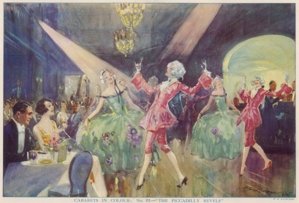 An artist's impression of one of the scenes in 'The Piccadilly Revels' when performed at The Piccadilly Hotel