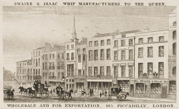 The premises of Swaine & Isaac, Whip Manufacturers to the Queen, at 185 Piccadilly