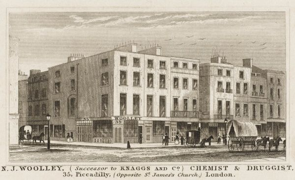 The premises of N J Woolley, Chemist & Druggiest, at 35 Piccadilly, opposite St James' church