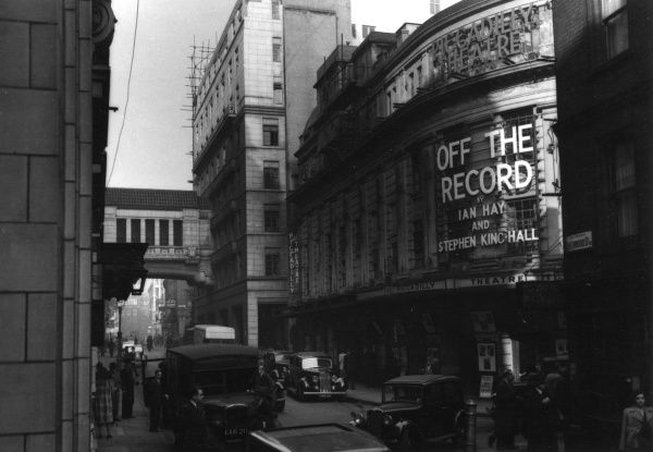 Piccadilly Theatre Denman Street, Piccadilly, London, showing Off the Record by Ian Hay and Stephen King Hall. The camera is looking down Sherwood Street. Date: 1947