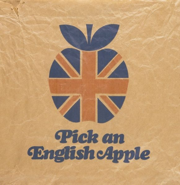 'Pick an English Apple !' the greengrocer's customers are urged to buy English fruit, rejecting imported stuff