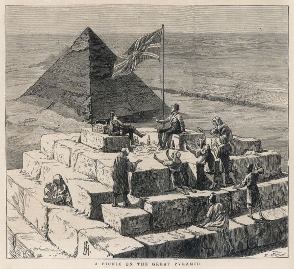 British tourists picnic on the summit of the Great Pyramid, to the astonishment of the locals