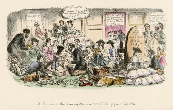 A PIC-NIC IN THE DRAWING ROOM A satire on the growing habit of snacking instead of sitting round the table at formal meals