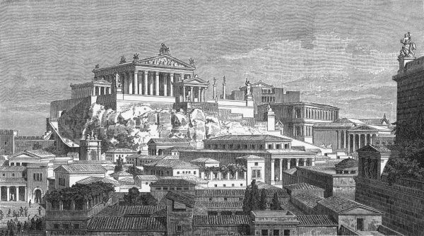 A pictorial reconstruction of The Capitol, surmounted by the Temple of Jupiter. The main Forum is to the right, the Forum Boarium to the left. Date