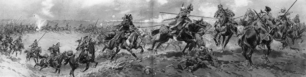 Russia's most famous horsemen meeting a charge by going 'line ahead' and closing on the enemy's flanks. Date: I