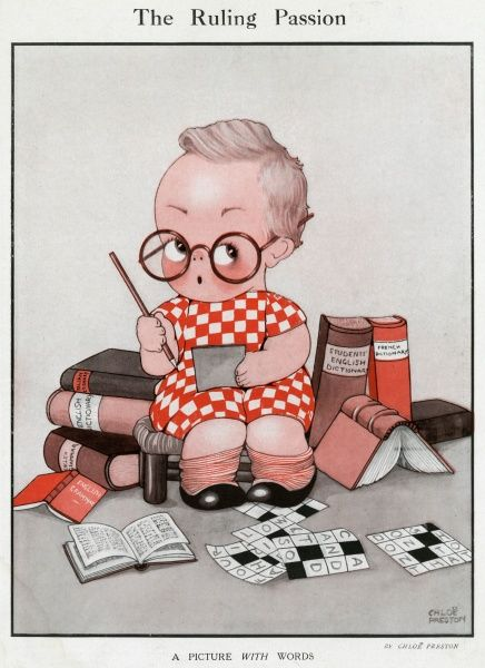 A studious looking little girl with spectacles balanced on her nose, sits among dictionaries as she works on countless crosswords. Published at a time when crosswords were all the rage, the little girl's dress is even crossword-themed