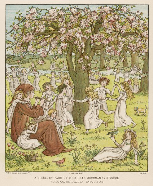 The Pied Piper plays his pipe while the children, having been led away from town, play in a meadow and dance around a tree full of blossom